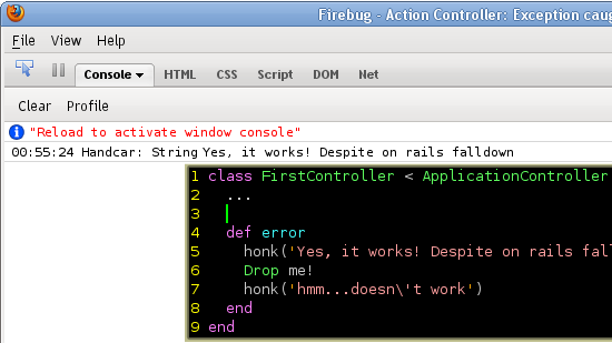 handcar output in firebug console
